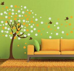 Zidna naljepnica - Drvo + 128 cvjetića + ptice